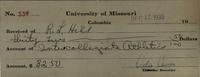 University of Missouri--Columbia receipt received of R.L. Hill for account of Intercollegiate Athletics