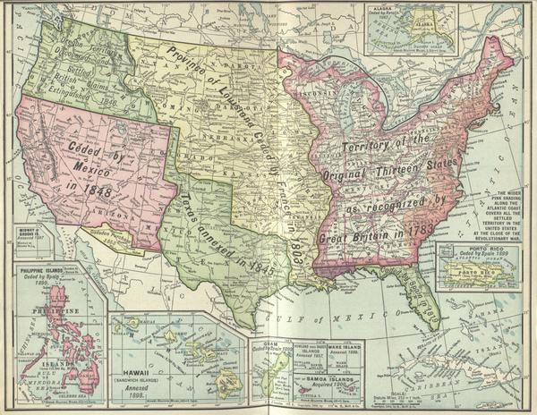 Map Of Louisiana Territory.Colored Map Of Louisiana Purchase Territory And All Acquisitions