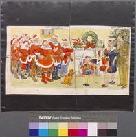 JM-W014: Ten Santas appear at home on Christmas during war-time