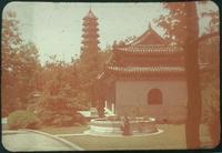 Hiller 09-046 : A woman with Confucius Temple and Linggu Pagoda