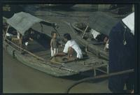 Hiller 07-081: Woman and child on a docked boat, Soochow Creek