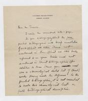 Letter to A. Francis Trams from Uknown Author, page 1