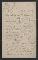 Letter to Burton from Unknown Author