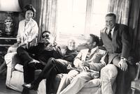 Angela Lascelles, Dizzy Gillespie, Bud Freeman, Buck Clayton, and Gerald Lascelles smiling for the photograph