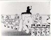 "Virginia Davis surrounded by a group of animated characters as part of the ""Alice's Wonderland"" short cartoon"