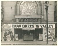 "Marquee advertising ""How Green Was My Valley"" at Esquire Theatre"