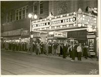 "Crowd lined up to see ""She Couldn't Take It""; outside the Tower Theatre"