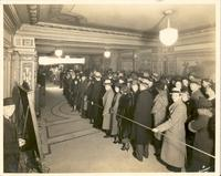 "Crowd lined up to see ""Bowy Bill"" in the lobby of the Tower Theatre"