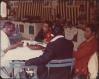 Buck Clayton talks with friends in Nice, France