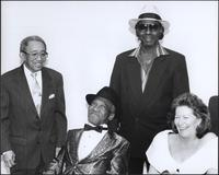 "Claude ""Fiddler"" Williams, Little Hatch, Millage Gilbert, and Debbie Dennis at the Gem Theater"