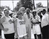 Mike Kovacs, Lou Dare, Tom Baker, Otis Clay, DC Bellamy, Groovie Grant, and Aaron Hodge at the Kansas City Kansas Street Blues Festival 2002