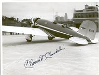 Photo of an airplane signed by Clarence D. Chamberlin