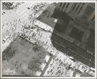 Aerial view of crowd gathering at City Hall and Courthouse