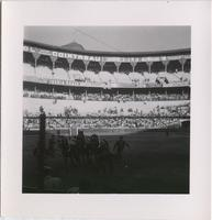 group of matadors and horses in the center of a large stadium