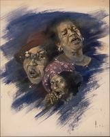 Drawing of Jeannie Cheatham, Sippie Wallace, and Big Mama Thornton