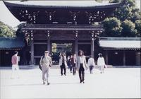 Jimmy and Jeannie Cheatham outside a temple or shrine in Japan