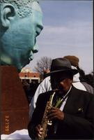 "Ahmad Alaadeen at the dedication of the Charlie Parker Memorial (""Bird Lives"")"