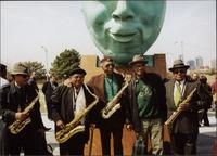 "Arthur Jackson, Eddie Saunders, Bobby Watson, Ahmad Alaadeen, Luqman Hamza at the ""Bird Lives"" statue in Kansas City, MO"