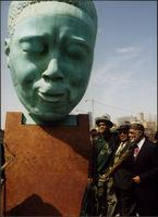 "Bobby Watson, Ahmad Alaadeen, and Luqman Hamza at the ""Bird Lives"" statue in Kansas City, MO"