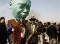 "T. Sharif Abdul-Hakim and Ahmad Alaadeen at the Charlie Parker Memorial dedication (""Bird Lives"")"