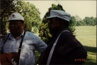 Jay McShann and Ahmad Alaadeen during the 21-sax salute at Charlie Parker's gravesite