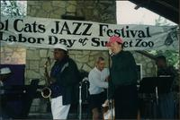 Emcee announces the Deans of Swing during the Cool Cats Jazz Festival