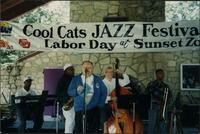 Dick Wright announcing the Deans of Swing during the Cool Cats Jazz Festival