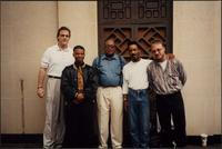 Tim Davis, Tim Perryman, Ahmad Alaadeen, Everette Freeman, and Sean Conly stand for a group photograph