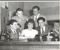 Tony Pastor, Dave Dexter, unidentified woman, Al Jarvis, and Andy Russell