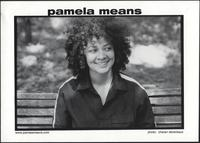 Pamela Means on a park bench