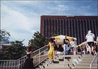 Drag queens descending the stairs at Barney Allis Plaza