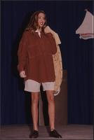 model in a fleece shirt a shorts during the Boat Show Fashion Show
