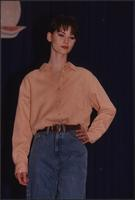 Peach shirt and blue jeans during the Boat Show Fashion Show
