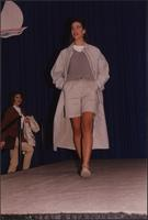 Overcoat over shorts during the Boat Show Fashion Show