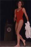 red swimsuit at the Boat Show Fashion Show