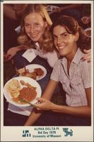 Sheila Stevens and a sister during the Alpha Delta Pi Bid Day 1979