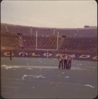 Sheila Stevens and two friends visit the University of Colorado-Boulder football stadium