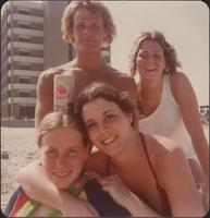 Sheila Stevens and friends on the beach