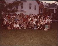 ΑΔΠ group photograph outside their sorority house