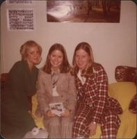 Sheila Stevens, Suzanne Muehlebach and another friend in the dormitory