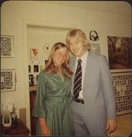 Sheila Stevens and her date in the Phi Delta Theta fraternity house