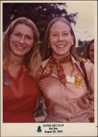 Pam Gelbach and Sheila Stevens during the Alpha Delta Pi bid day