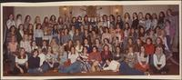 Alpha Delta Pi sorority sisters of the University of Missouri-Columbia campus in a group photograph