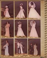 Nine photographs of individual Stevens models wearing wedding clothing at a fashion show