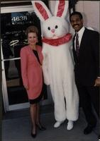 Melissa Stevens, the Easter Bunny, and Emanuel Cleaver standing outside the agency's Country Club Plaza office