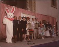 Melissa Stevens and the Easter Bunny with Easter parade trophy winners