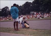 unidentified man, woman, and young child at the Liberty Memorial Jazz Festival
