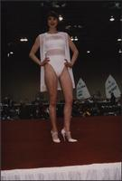 White one-piece swimsuit and cover-up during the Boat Show Fashion Show
