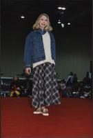 Jean jacket and full-length skirt during the Boat Show Fashion Show