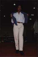 Stevens model wearing cream-colored jeans during the Boat Show Fashion Show